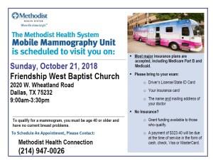Get a Mammogram At Friendship West baptist Church