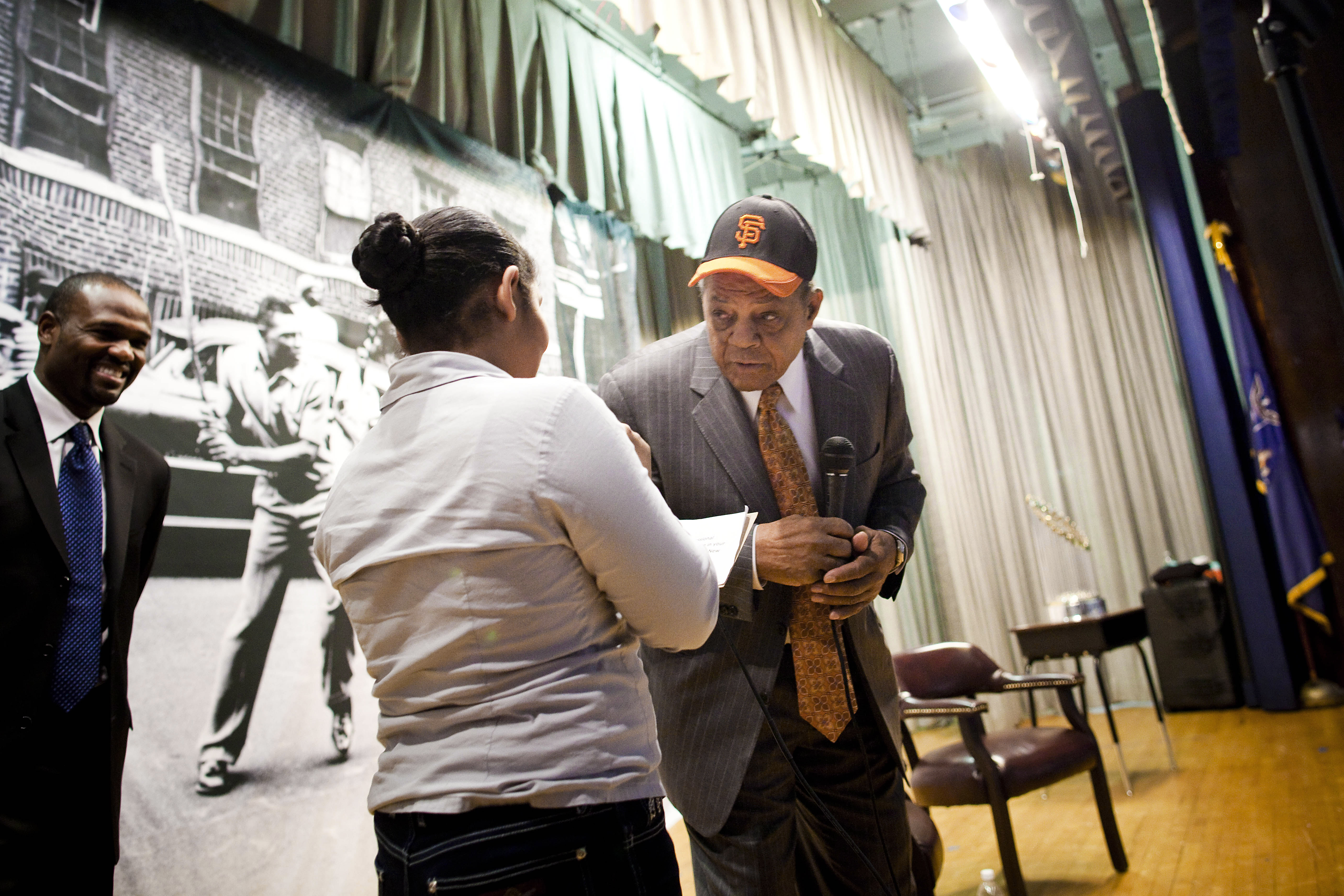 Willie Mays And The World Series Trophy Visit New York City