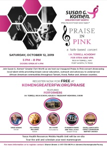Susan G. Komen Greater Fort Worth® Invites You To Praise In Pink On October 12th!