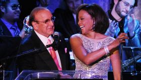 Singer Whitney Houston with Clive Davis