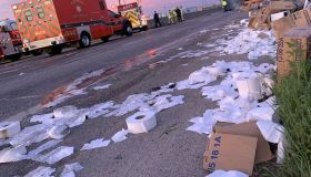 Big Rig Carrying Toilet Rolls Crashes in Dallas
